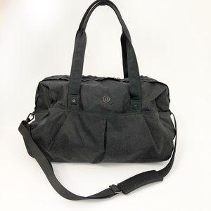 Lululemon Black Print Duffle Gym Overnight Bag